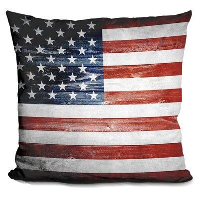 Wooden Flag Throw Pillow