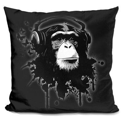 Monkey Business Throw Pillow Color: Black