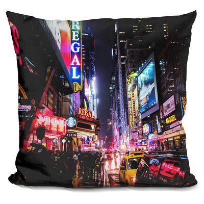 New York City Night Throw Pillow Color: Blue/Red