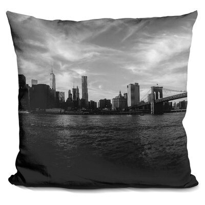 New York Skyline Throw Pillow Color: Black/White