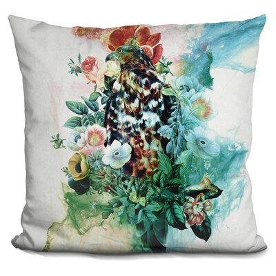 Bird in Flowers Throw Pillow