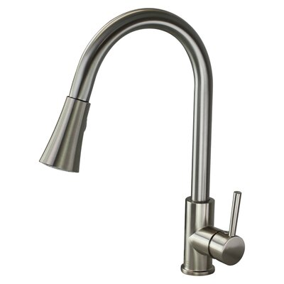 Holmes Pull Out Single Handle Kitchen Faucet Finish: Luxe Stainless