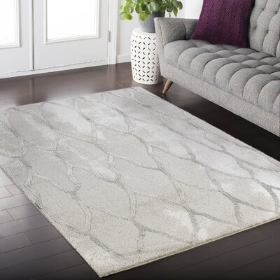 Crider White/Gray Area Rug Rug Size: Rectangle 39 x 52