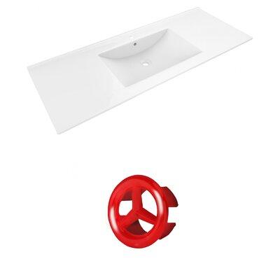 Alum Ceramic 48 Single Bathroom Vanity Top Faucet Mount: Single, Overflow Cap Color: Red