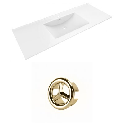 Alum Ceramic 48 Single Bathroom Vanity Top Faucet Mount: Single, Overflow Cap Color: Gold