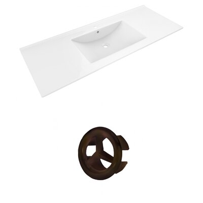 Alum Ceramic 48 Single Bathroom Vanity Top Faucet Mount: Single, Overflow Cap Color: Oil Rubbed Bronze
