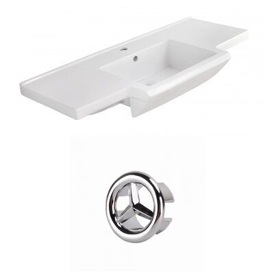 Prelude Ceramic 40 Single Bathroom Vanity Top Faucet Mount: Single, Overflow Cap Color: Chrome