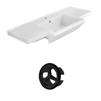 Prelude Ceramic 40 Single Bathroom Vanity Top Faucet Mount: Single, Overflow Cap Color: Black