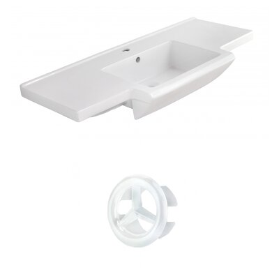 Prelude Ceramic 40 Single Bathroom Vanity Top Faucet Mount: Single, Overflow Cap Color: White
