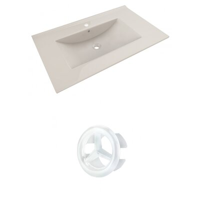 Drake 36 Single Bathroom Vanity Top Faucet Mount: Single, Overflow Cap Color: White