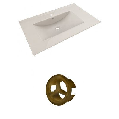 Drake 36 Single Bathroom Vanity Top Faucet Mount: Single, Overflow Cap Color: Antique Brass