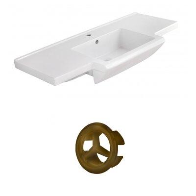 Prelude Ceramic 40 Single Bathroom Vanity Top Faucet Mount: Single, Overflow Cap Color: Antique Brass