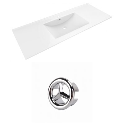 Alum Ceramic 48 Single Bathroom Vanity Top Faucet Mount: Single, Overflow Cap Color: Chrome