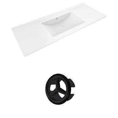 Alum Ceramic 48 Single Bathroom Vanity Top Faucet Mount: Single, Overflow Cap Color: Black