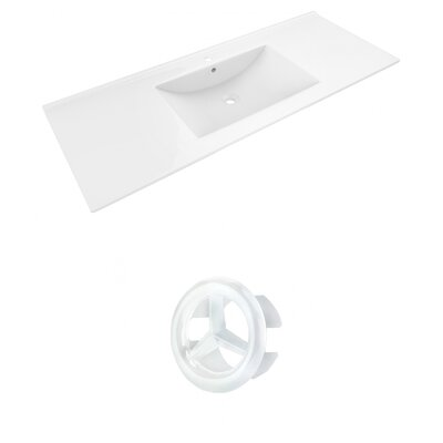 Alum Ceramic 48 Single Bathroom Vanity Top Faucet Mount: Single, Overflow Cap Color: White