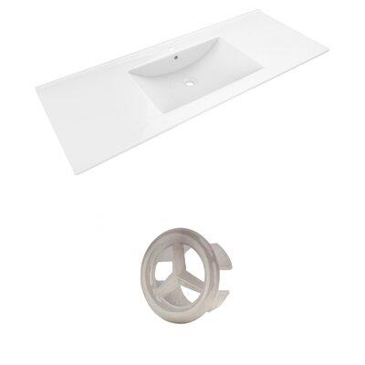 Alum Ceramic 48 Single Bathroom Vanity Top Faucet Mount: Single, Overflow Cap Color: Brushed Nickel