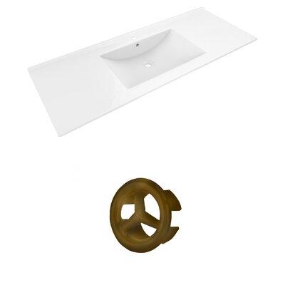 Alum Ceramic 48 Single Bathroom Vanity Top Faucet Mount: Single, Overflow Cap Color: Antique Brass