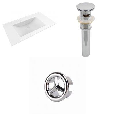 Drake 36 Single Bathroom Vanity Top Faucet Mount: Single, Drain Color: Chrome, Overflow Cap Color: Chrome
