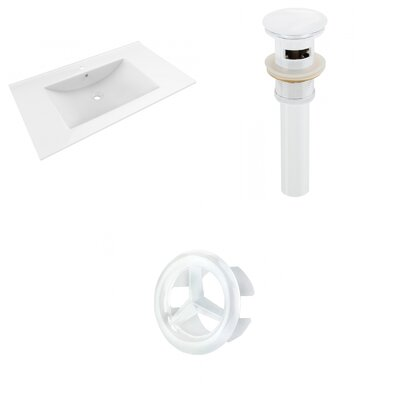 Drake 36 Single Bathroom Vanity Top Faucet Mount: Single, Drain Color: White, Overflow Cap Color: White