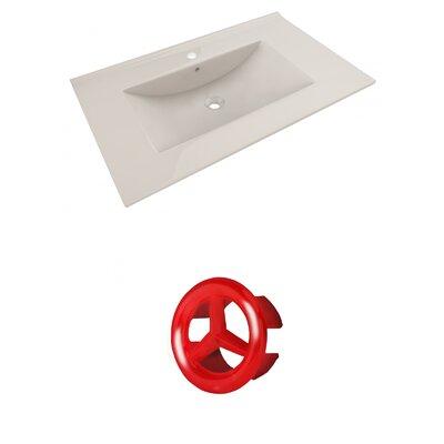 Drake 36 Single Bathroom Vanity Top Faucet Mount: Single, Overflow Cap Color: Red