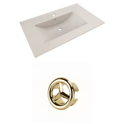 Drake 36 Single Bathroom Vanity Top Faucet Mount: Single, Overflow Cap Color: Gold