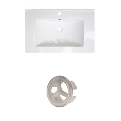 Roxy Ceramic 24 Single Bathroom Vanity Top Faucet Mount: Single, Overflow Cap Color: Brushed Nickel