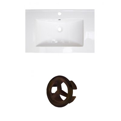 Roxy Ceramic 24 Single Bathroom Vanity Top Faucet Mount: Single, Overflow Cap Color: Oil Rubbed Bronze