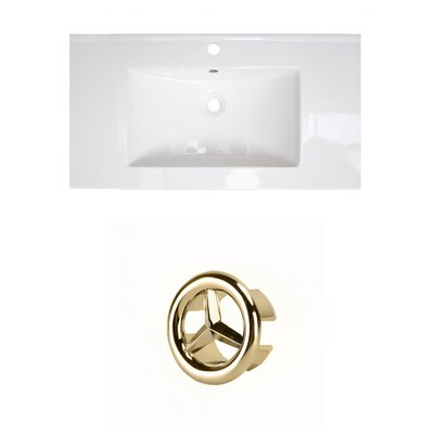Roxy 32 Single Bathroom Vanity Top Faucet Mount: Single, Overflow Cap Color: Gold