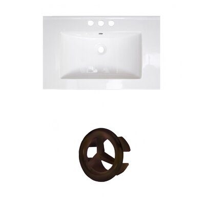 Roxy Ceramic 24 Single Bathroom Vanity Top Faucet Mount: 4 Centers, Overflow Cap Color: Oil Rubbed Bronze