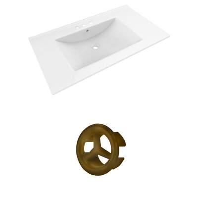 Drake 36 Single Bathroom Vanity Top Faucet Mount: 4 Centers, Overflow Cap Color: Antique Brass