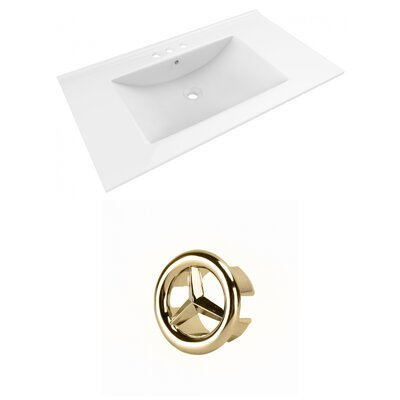 Drake 36 Single Bathroom Vanity Top Faucet Mount: 8 Centers, Overflow Cap Color: Gold