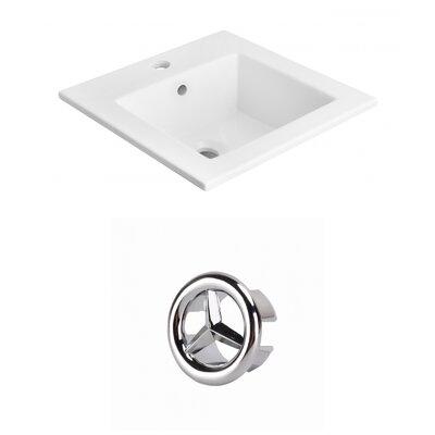 Vee Ceramic 21 Single Bathroom Vanity Top Faucet Mount: Single, Overflow Cap Color: Chrome