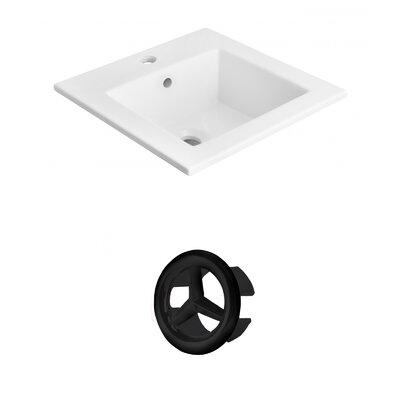 Vee Ceramic 21 Single Bathroom Vanity Top Faucet Mount: Single, Overflow Cap Color: Black