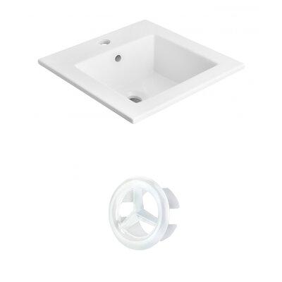 Vee Ceramic 21 Single Bathroom Vanity Top Faucet Mount: Single, Overflow Cap Color: White