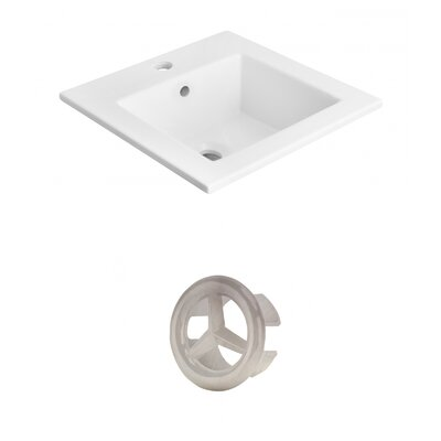 Vee Ceramic 21 Single Bathroom Vanity Top Faucet Mount: Single, Overflow Cap Color: Brushed Nickel