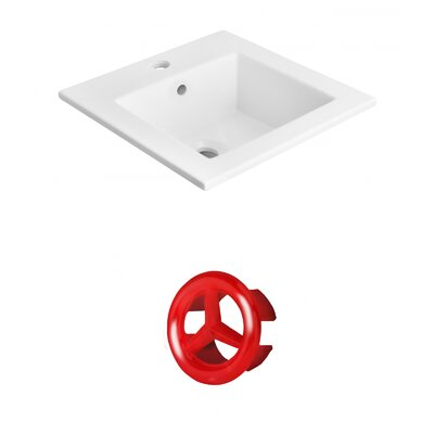 Vee Ceramic 21 Single Bathroom Vanity Top Faucet Mount: Single, Overflow Cap Color: Red