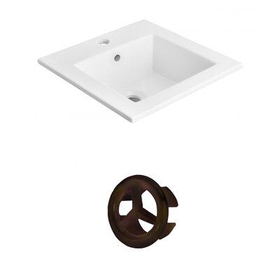 Vee Ceramic 21 Single Bathroom Vanity Top Faucet Mount: Single, Overflow Cap Color: Oil Rubbed Bronze