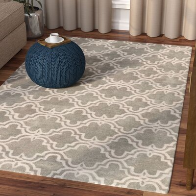Ladd Trellis Wool Hand-Tufted Silver Area Rug Rug Size: Rectangle 8 x 10