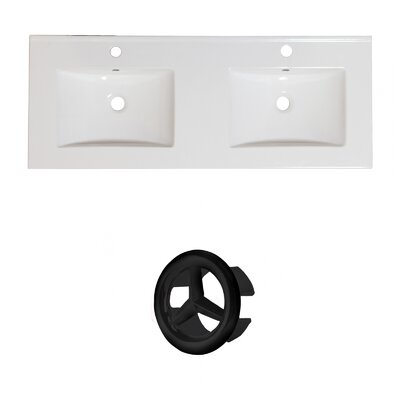 Xena Ceramic 59 Double Bathroom Vanity Top Faucet Mount: Single, Overflow Cap Color: Black