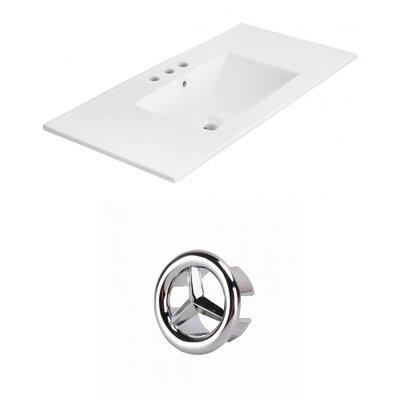 Drake 36 Single Bathroom Vanity Top Faucet Mount: 4 Centers, Overflow Cap Color: Chrome