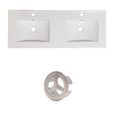 Xena Ceramic 59 Double Bathroom Vanity Top Faucet Mount: Single, Overflow Cap Color: Brushed Nickel