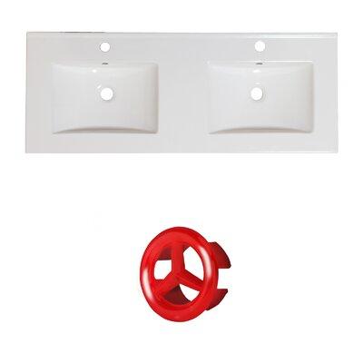 Xena Ceramic 59 Double Bathroom Vanity Top Faucet Mount: Single, Overflow Cap Color: Red