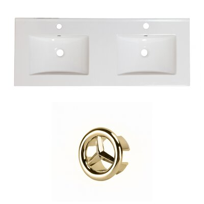 Xena Ceramic 59 Double Bathroom Vanity Top Faucet Mount: Single, Overflow Cap Color: Gold