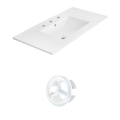 Drake 36 Single Bathroom Vanity Top Faucet Mount: 8 Centers, Overflow Cap Color: White