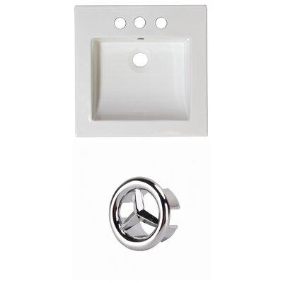 Ceramic 22 Single Bathroom Vanity Top Faucet Mount: 4 Centers, Overflow Cap Color: Chrome