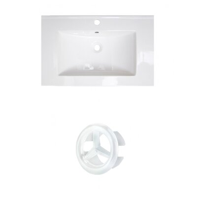 Vee Ceramic 21 Single Bathroom Vanity Top Faucet Mount: Single, Overflow Color: White