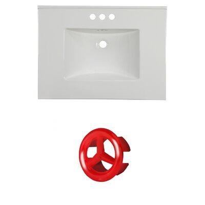 31 Single Bathroom Vanity Top Faucet Mount: 4 Centers, Overflow Cap Color: Red