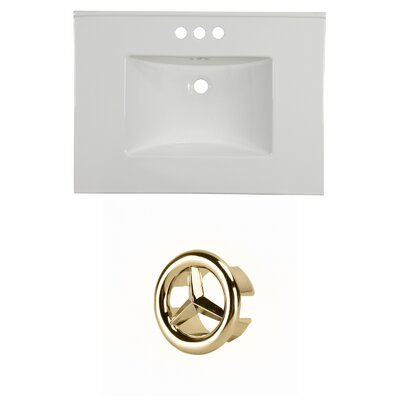 31 Single Bathroom Vanity Top Faucet Mount: 4 Centers, Overflow Cap Color: Gold