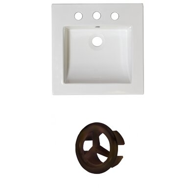 Ceramic 22 Single Bathroom Vanity Top Faucet Mount: 4 Centers, Overflow Cap Color: Oil Rubbed Bronze