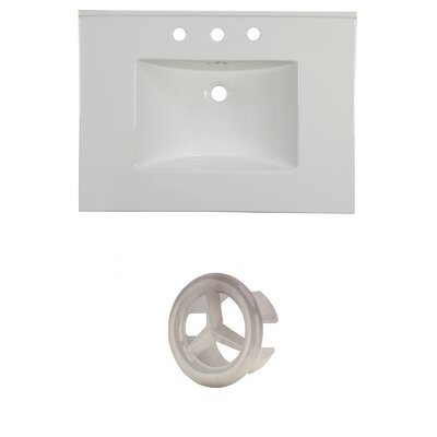 31 Single Bathroom Vanity Top Faucet Mount: 8 Centers, Overflow Cap Color: Brushed Nickel
